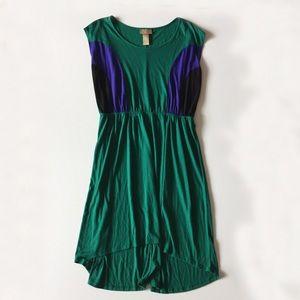 Miss Tina Green Color Block Hi Lo Dress Size L